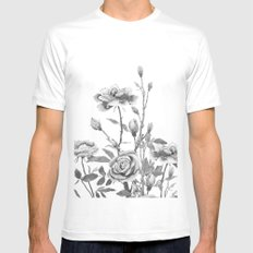 black and white roses Mens Fitted Tee White MEDIUM