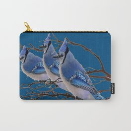 THREE AMERICAN BLUE JAYS ART BLUE WINTER ART Carry-All Pouch