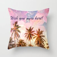 postcard Throw Pillows featuring Beach Postcard by Darcy Lynn Designs