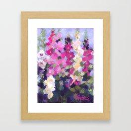 Pink Hollyhocks in My Garden Framed Art Print