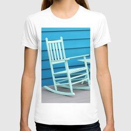 Coastal Beach House Art - Blue Rocking Chair - Sharon Cummings T-shirt