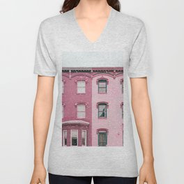 Snowing in Paris Pink Photography Unisex V-Neck