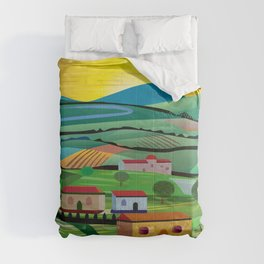 Sunset over Fields Comforters