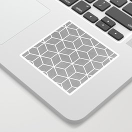 Light Grey and White - Geometric Textured Cube Design Sticker