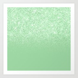 Modern mint glitter gradient ombre chic sparkles green Art Print