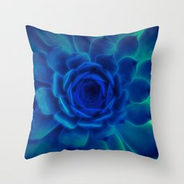 Neon Blue Sempervivum Throw Pillow