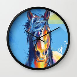 Horse Beauty - colorful animal portrait Wall Clock