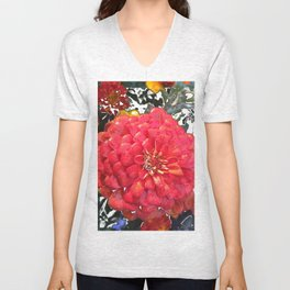 Garden Blooms - Red Unisex V-Neck