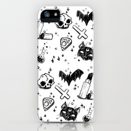 Bats, Cats and Skuls, Oh My! (B/W) iPhone Case