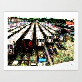 7 Train Yard Art Print
