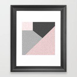 Gray , pink , patchwork Framed Art Print