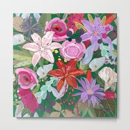 Lily and Colorful Flowers Pattern Metal Print