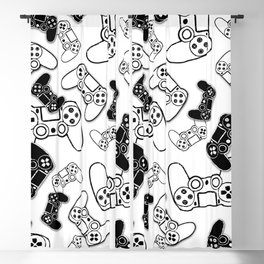 Video Games Black on White Blackout Curtain