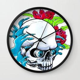 Skull and Waves Wall Clock