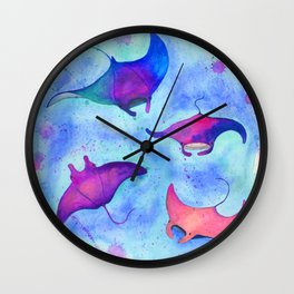 Neon Mantas Wall Clock