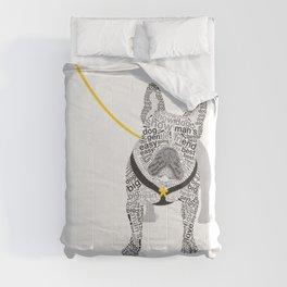 Typographic French Bulldog - Black and White Comforters