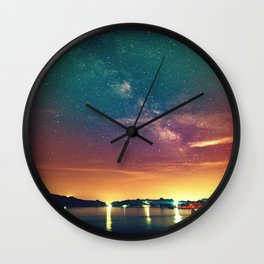 Milky Way Colorful Sunset Wall Clock