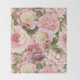 Vintage & Shabby Chic Floral Peony & Lily Flowers Watercolor Pattern Throw Blanket