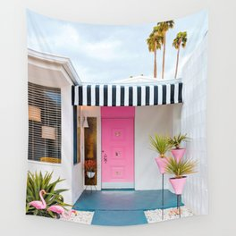 Cute Pink Door with Yard Flamingos in Palm Springs Wall Tapestry