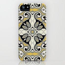 Edwardian Geo Yellow Grey iPhone Case