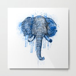 Blue Watercolor Elephant Head Metal Print