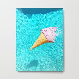 pink ice cream cone float all up in my pool yo Metal Print