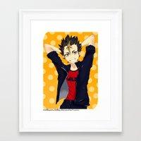 haikyuu Framed Art Prints featuring Haikyuu!!: Nishinoya by Nella Nutella