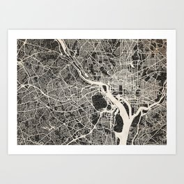Arlington map Virginia Ink lines Art Print