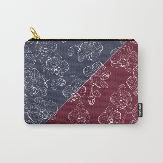 Retro . Orchid flowers on a red and blue background . The combined pattern . Carry-All Pouch