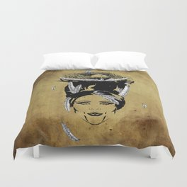 A Head Full of Feathers Duvet Cover