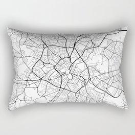 Birmingham Map, England - Black and White Rectangular Pillow