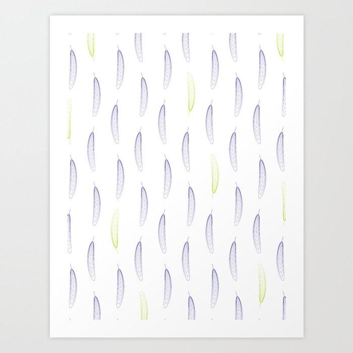 Geometric Feather Pattern - Purple & Green #398 Kunstdrucke