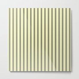 Wide Dark Black Mattress Ticking Stripes on Cream Metal Print