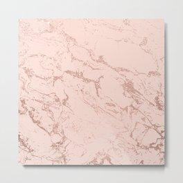 Modern rose gold glitter ombre foil blush pink marble pattern Metal Print