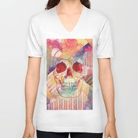camp V-neck T-shirts featuring Cheerleader Camp by Orlberos Skull Designs