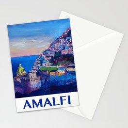 Retro Vintage Style Travel Poster Amazing Amalfi Coast At Sunset Stationery Cards