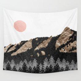 Flatirons Boulder Colorado - Climbing Gold Mountains Wall Tapestry