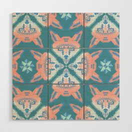Pastel Fox Pattern Wood Wall Art