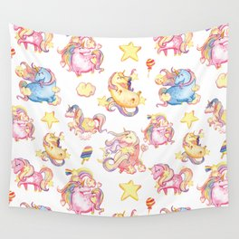 Cute girly watercolor magical rainbow colors unicorn illustration Wall Tapestry