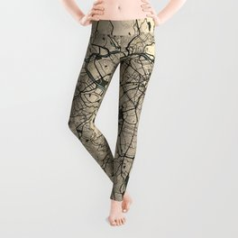 Sao Paulo City Map of Brazil - Old Vintage Leggings