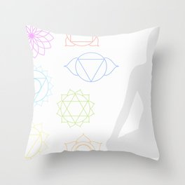 Chakra icons in respective colors with meditating person Throw Pillow