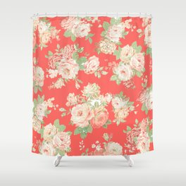 coral elise floral Shower Curtain