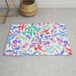 Sophisticated Floral Pattern With Magic Genie Lanterns Rug