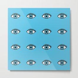 Blue Evil Eyes Metal Print