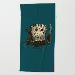 Camp Crystal Lake Log Beach Towel
