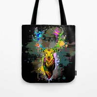 popart Tote Bags featuring Deer PopArt Dripping Paint by BluedarkArt