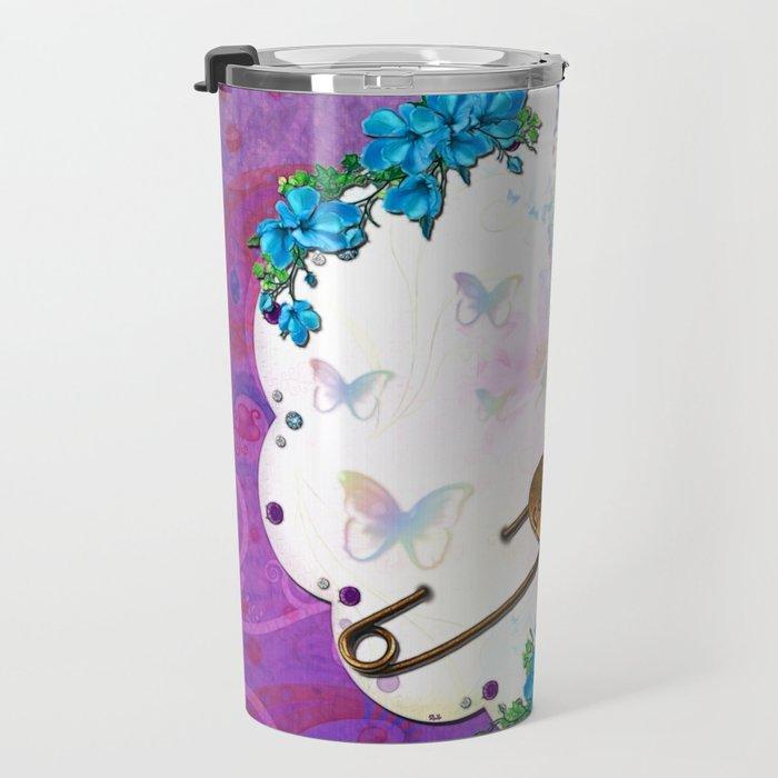 Butterfly Dream Scene Jeweled Mixed Media Travel Mug