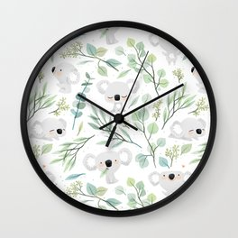 Koala and Eucalyptus Pattern Wall Clock