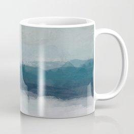 Dark Teal Blue, White, Pink, Light Blue Modern Wall Art, Ocean Waves Diptych Nursery Beach Decor Coffee Mug