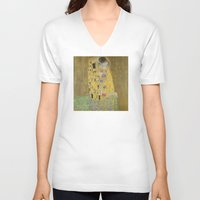 klimt V-neck T-shirts featuring The Kiss - Gustav Klimt by Elegant Chaos Gallery